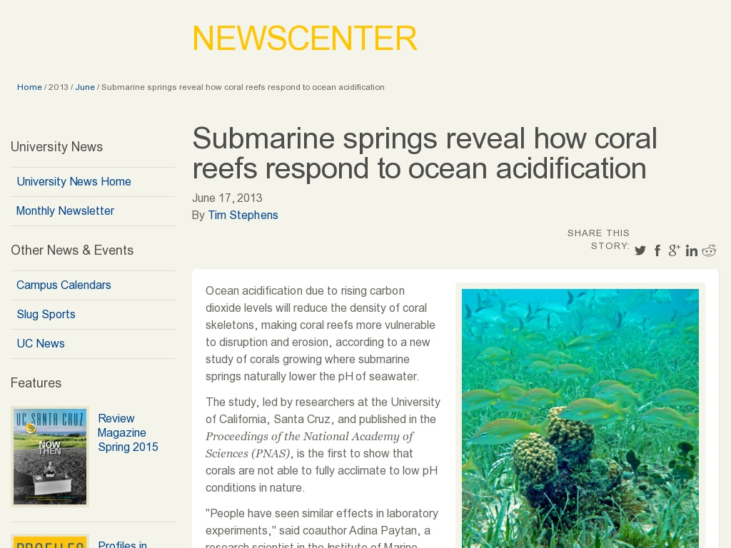Random link to http://news.ucsc.edu/2013/06/calcifying-corals.html